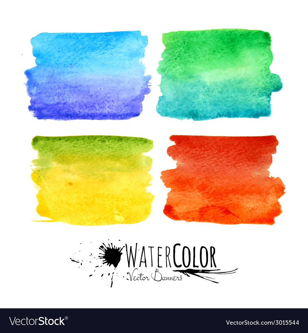 Watercolor textured paint stains colorful set vector | Price: 1 Credit (USD $1)
