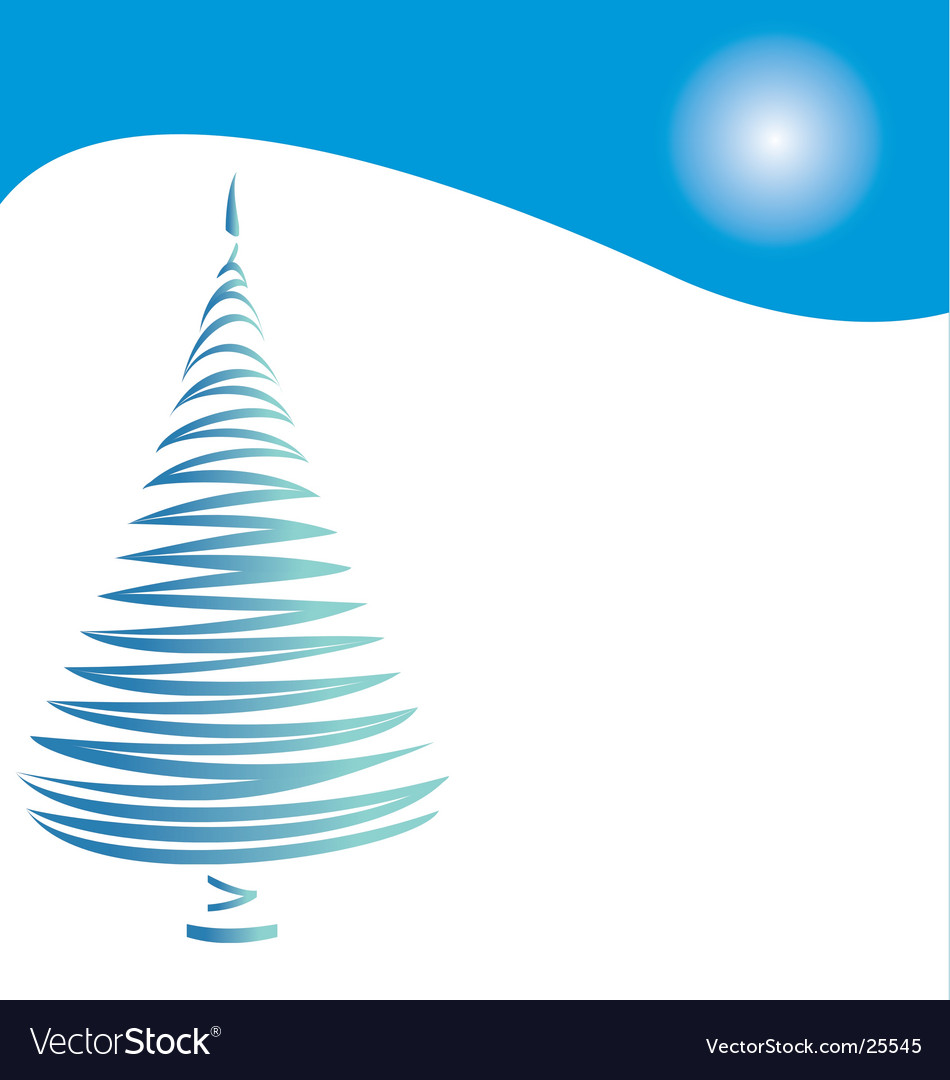 Christmas tree on blue hill vector | Price: 1 Credit (USD $1)