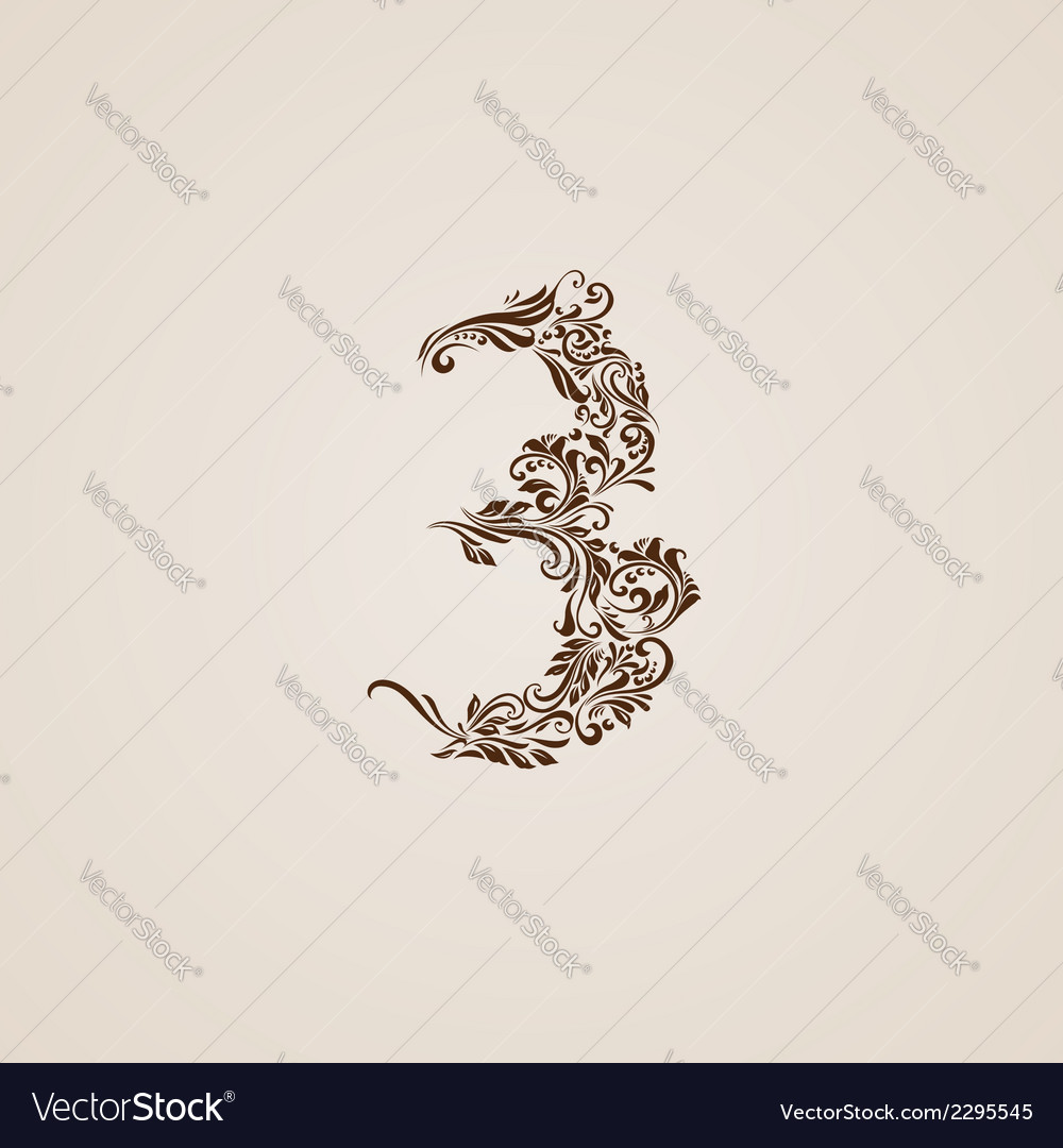 Decorated three digit on beige vector | Price: 1 Credit (USD $1)