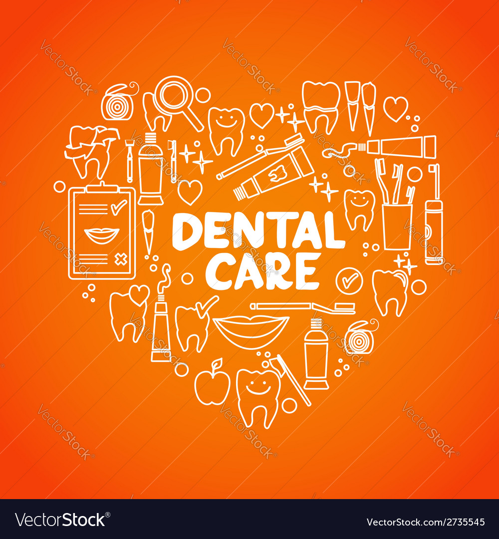 Dental care symbols in the shape of heart vector | Price: 1 Credit (USD $1)