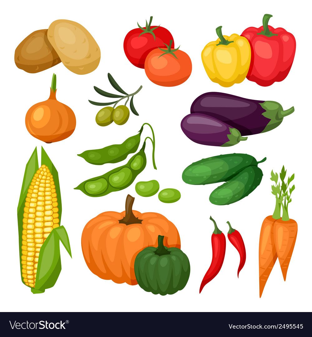 Icon set of fresh ripe stylized vegetables vector | Price: 1 Credit (USD $1)