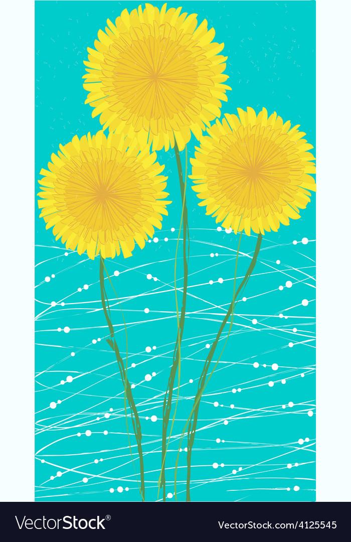 Long card yellow dandelion vector | Price: 1 Credit (USD $1)