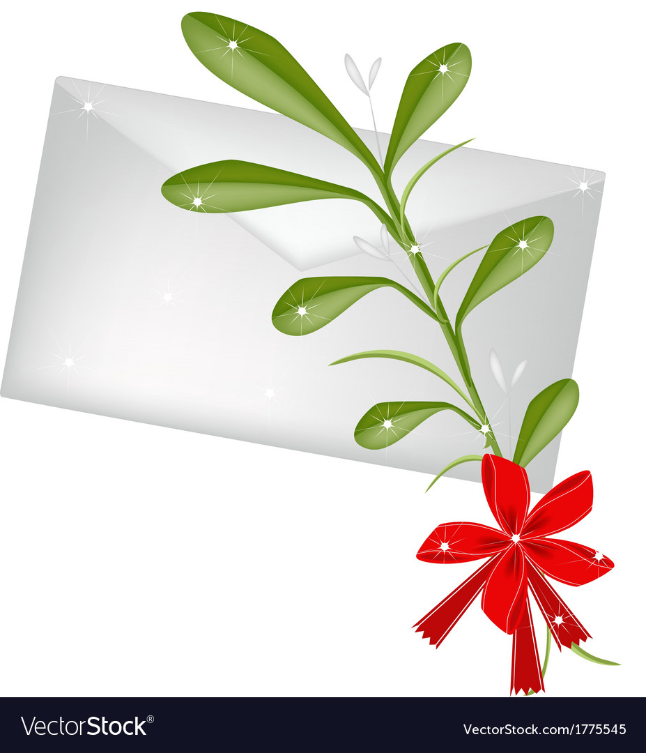 Lovely green mistletoe with a red bow and letter vector | Price: 1 Credit (USD $1)