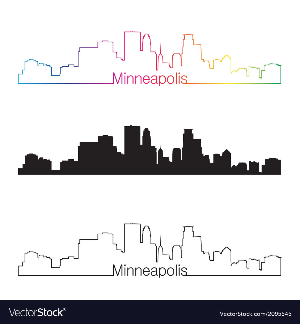 Minneapolis skyline linear style with rainbow vector | Price: 1 Credit (USD $1)