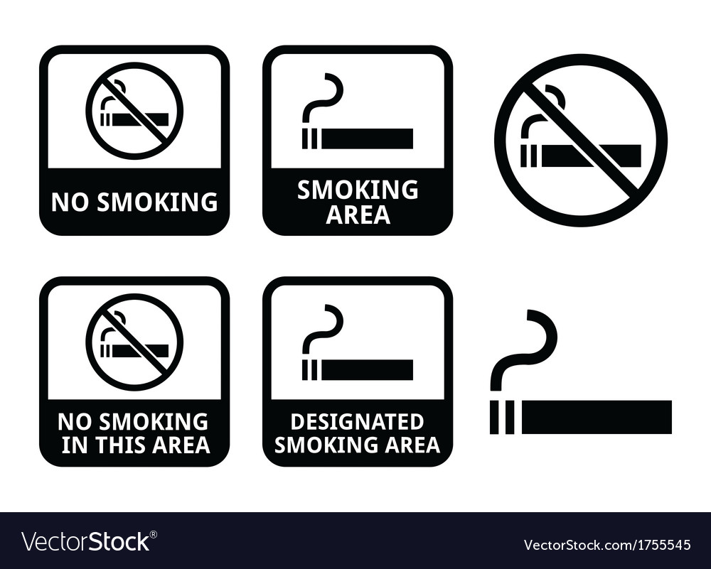 No smoking smoking area icons set vector | Price: 1 Credit (USD $1)