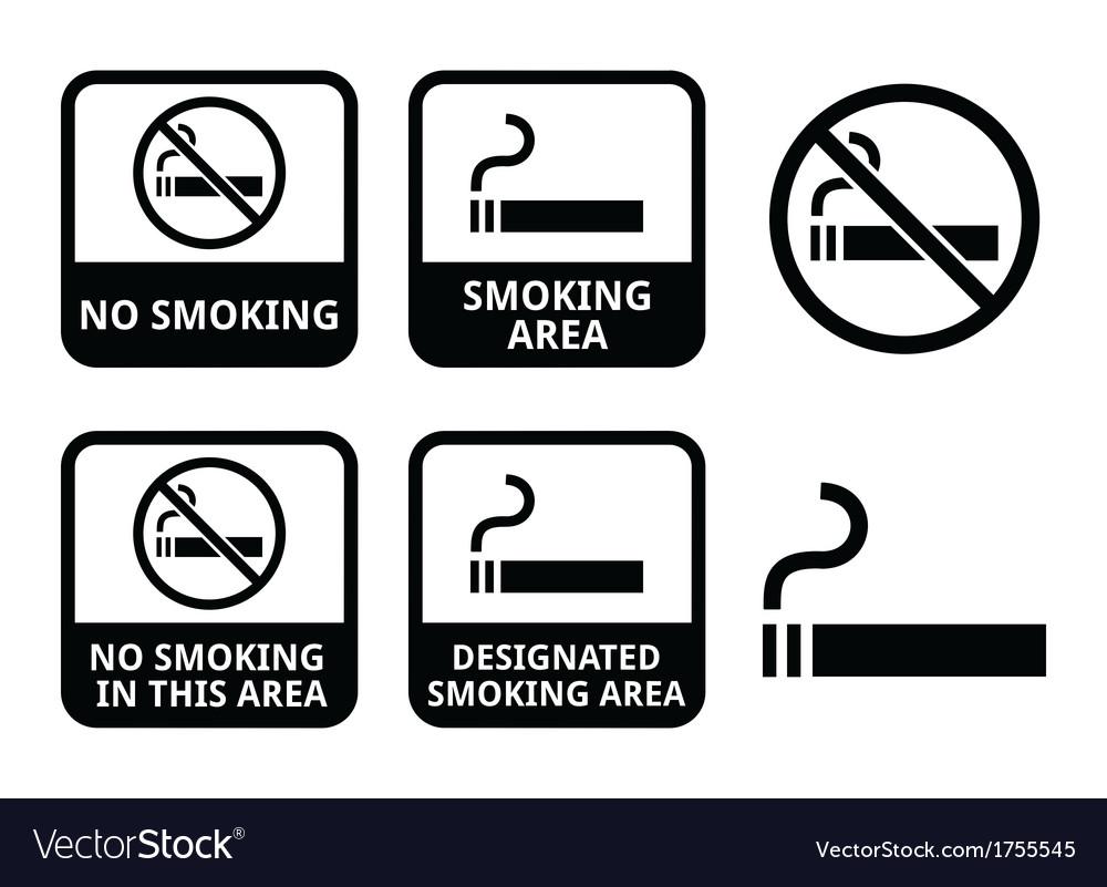 No smoking smoking area icons set vector | Price: 1 Credit (USD $1)