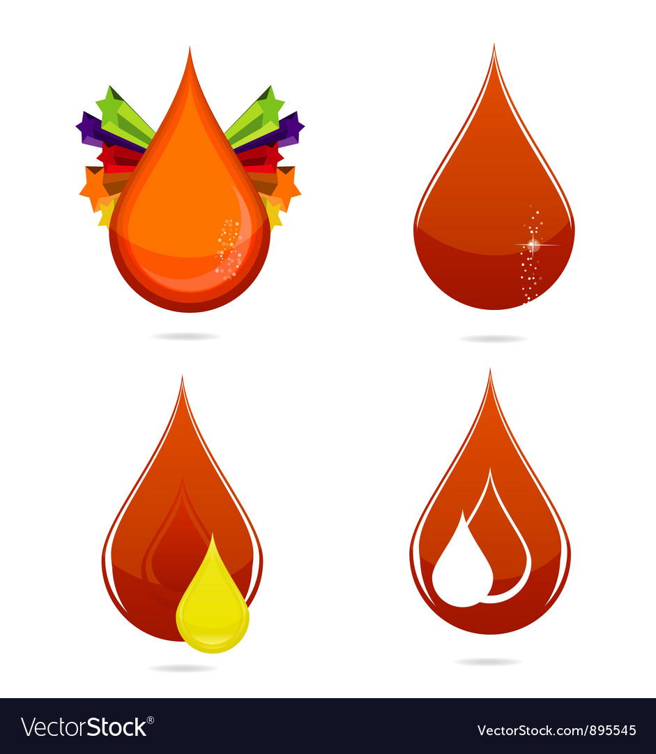 Red glass medic blood drops set vector | Price: 3 Credit (USD $3)