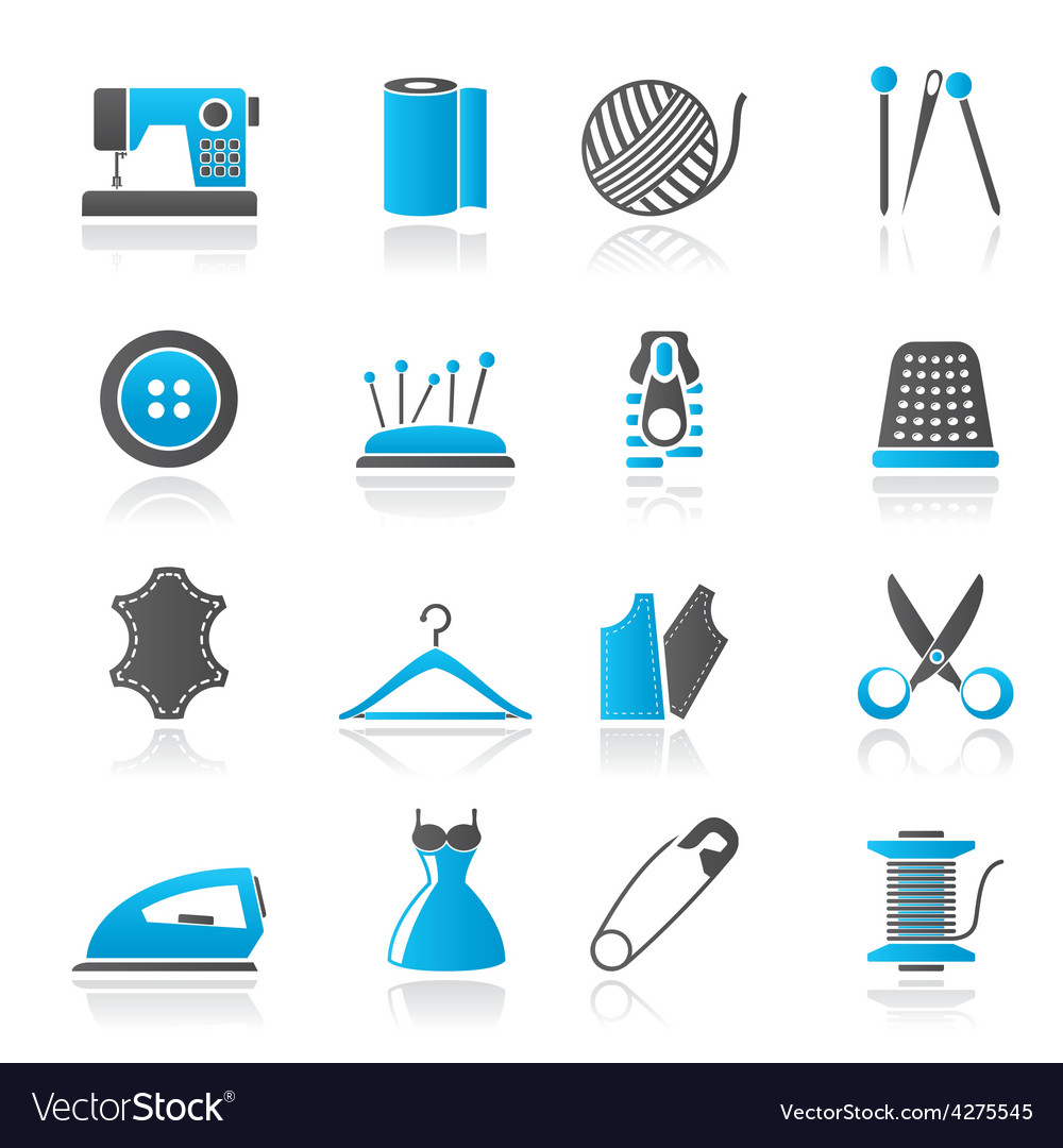 Sewing equipment and objects icons vector | Price: 1 Credit (USD $1)