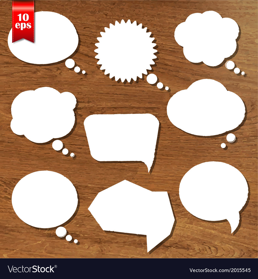 Wooden background with speech bubbles set vector | Price: 1 Credit (USD $1)