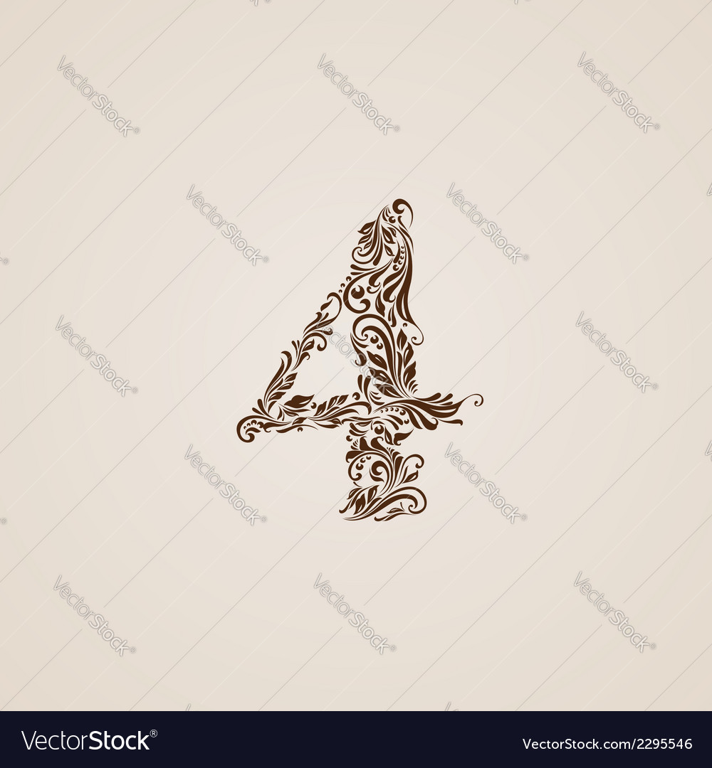 Decorated four digit on beige vector | Price: 1 Credit (USD $1)