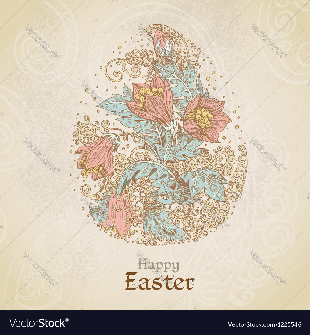 Easter vintage color background with egg vector | Price: 3 Credit (USD $3)