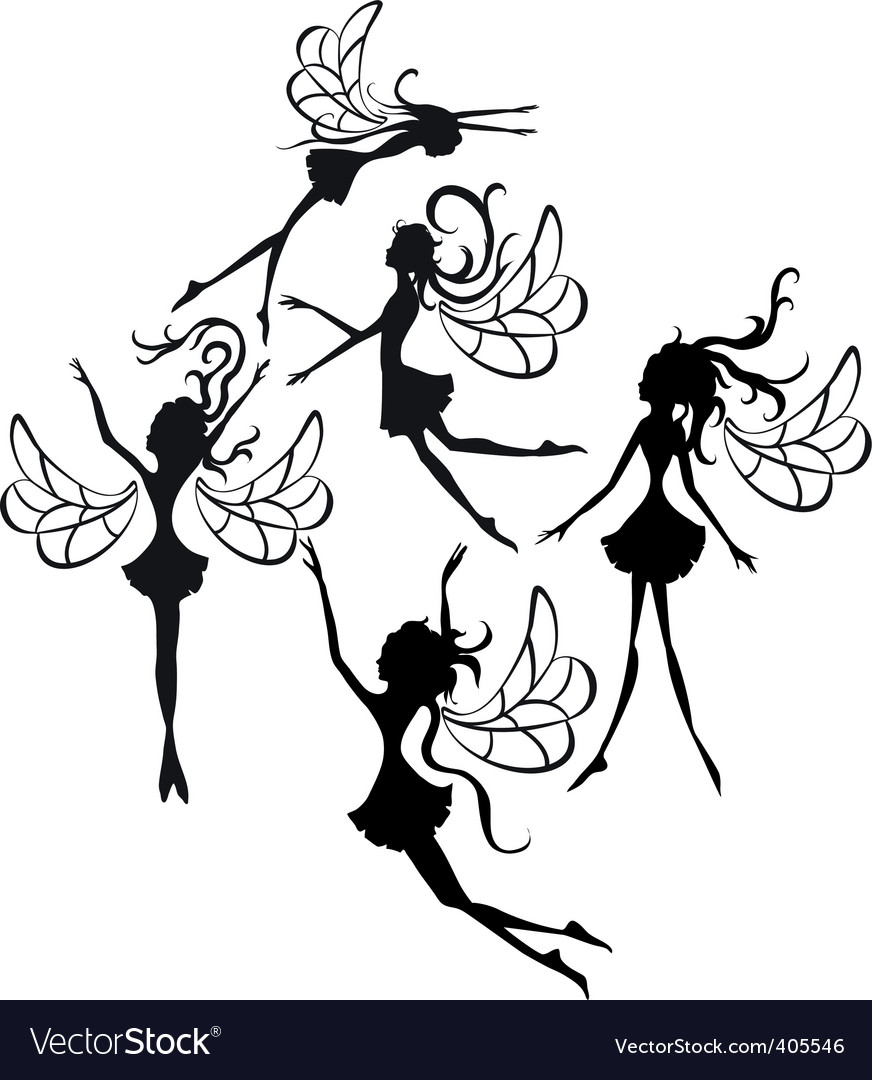 Fairies silhouettes vector | Price: 1 Credit (USD $1)