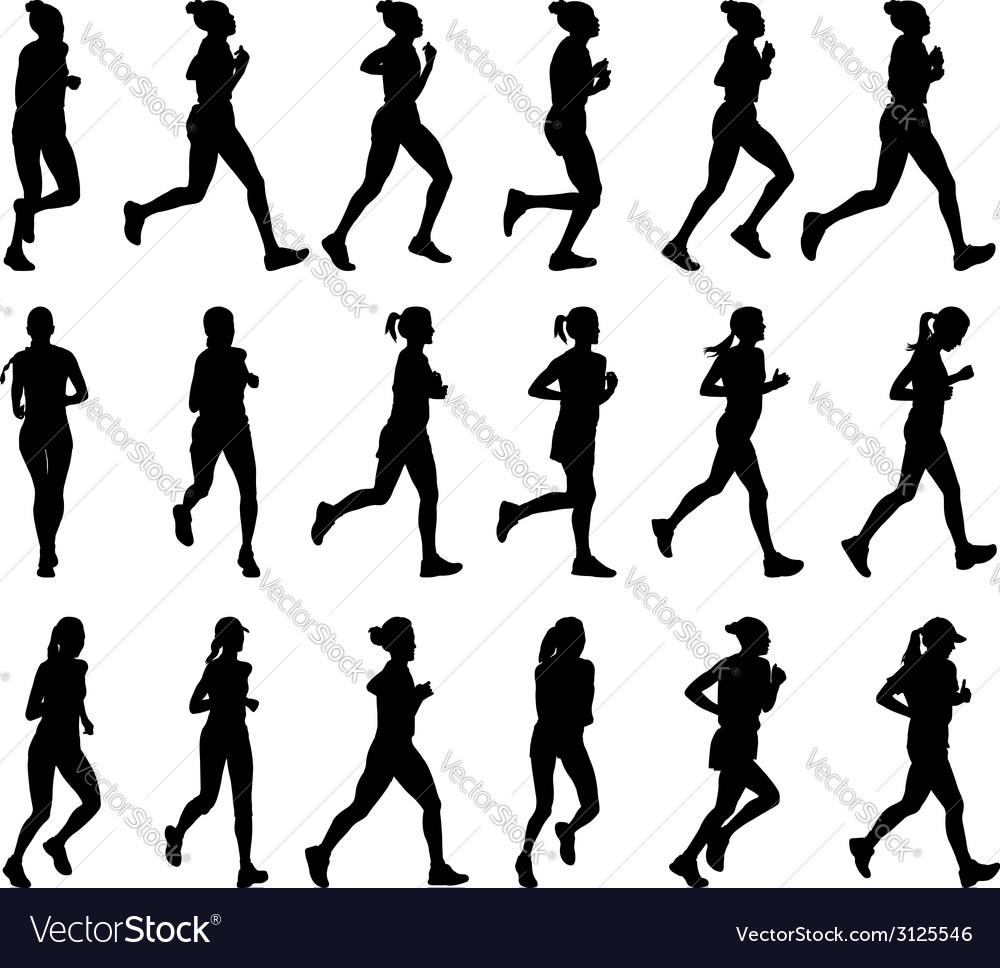Female marathon runners vector | Price: 1 Credit (USD $1)
