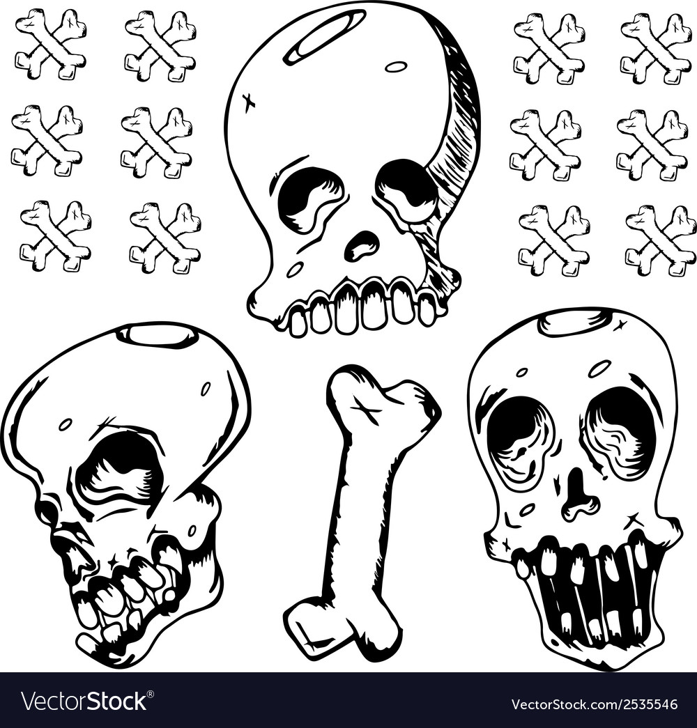 Grunge black ink doodle skull vector | Price: 1 Credit (USD $1)