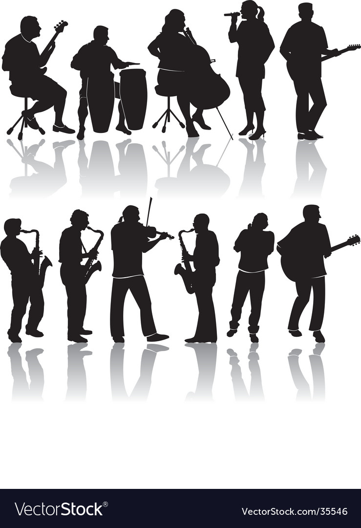 Music silhouettes vector | Price: 1 Credit (USD $1)