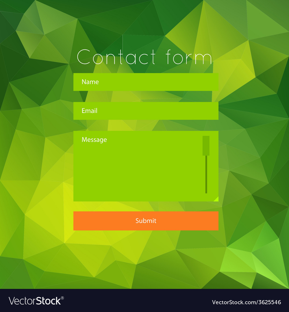 Polygonal green contact form vector | Price: 1 Credit (USD $1)