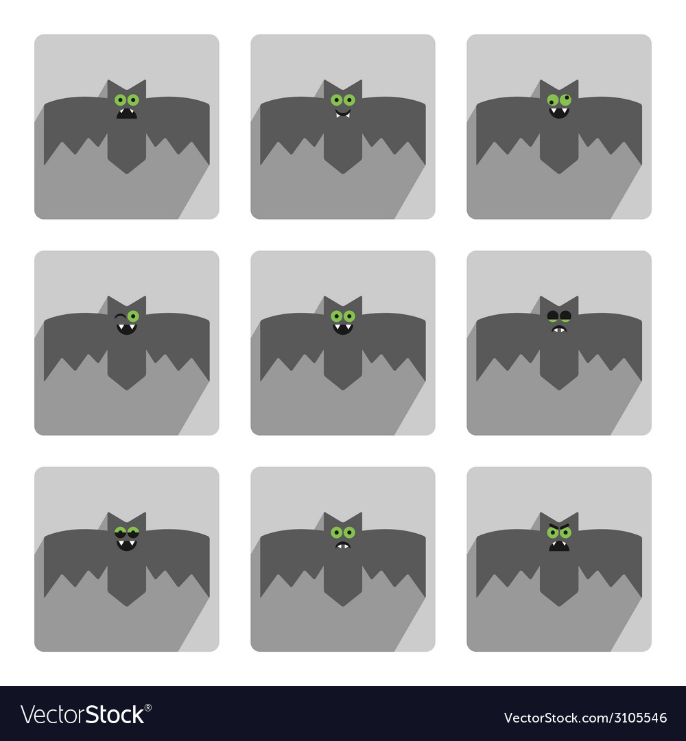 Set of bats decorative icons for halloween vector | Price: 1 Credit (USD $1)