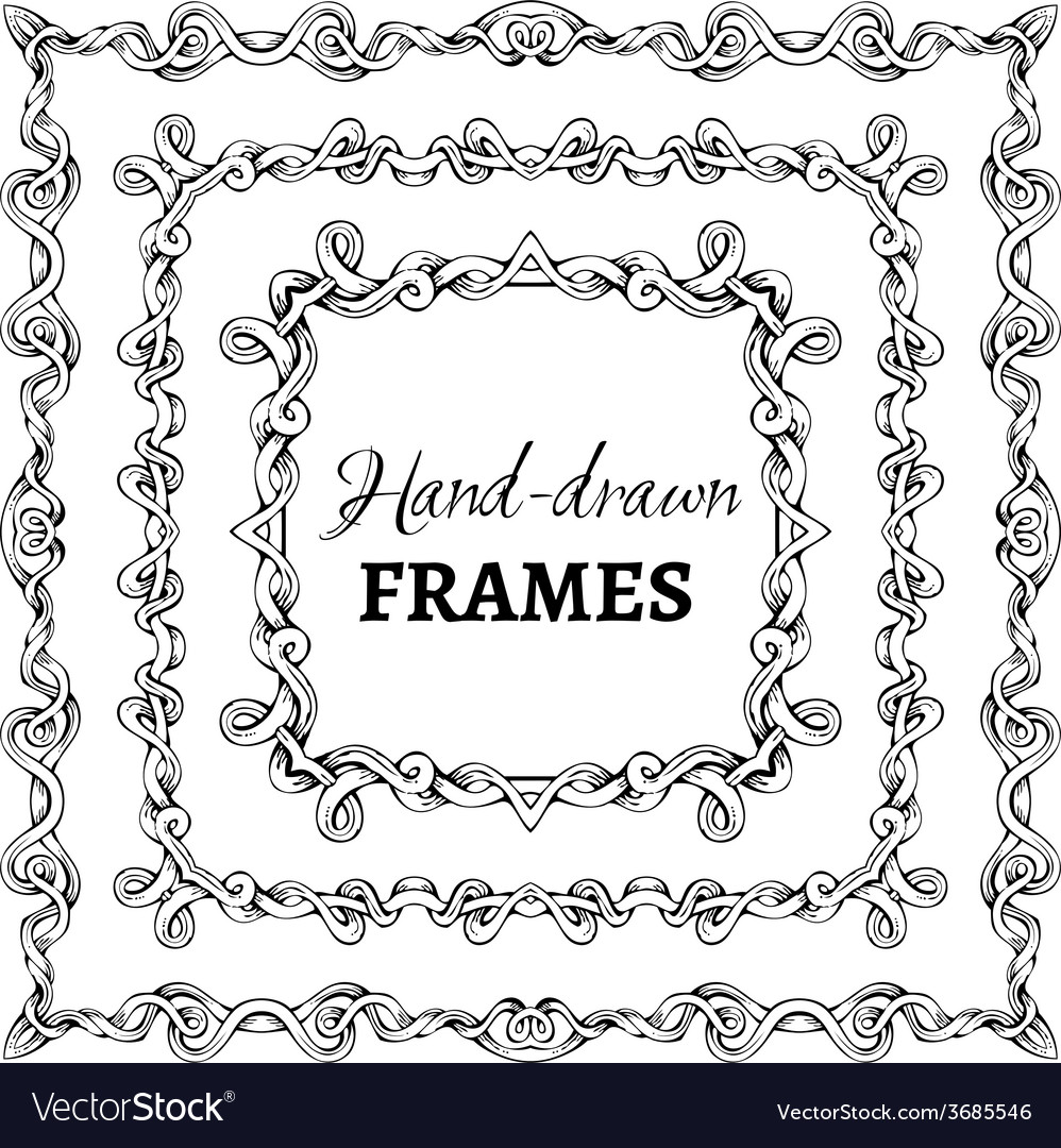 Set of square vintage frames vector | Price: 1 Credit (USD $1)