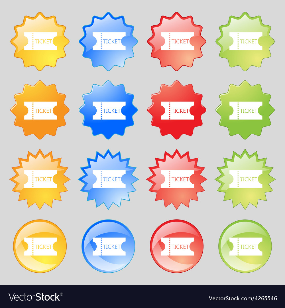 Ticket icon sign big set of 16 colorful modern vector