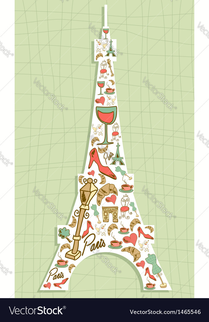 Travel paris icon set eiffel tower vector | Price: 1 Credit (USD $1)