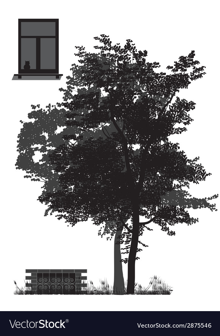 Tree in front of house vector | Price: 1 Credit (USD $1)