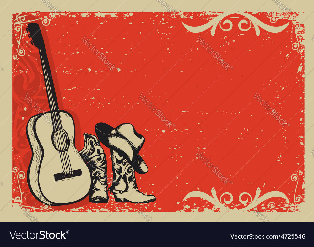 Vintage poster with cowboy boots and music guitar vector | Price: 1 Credit (USD $1)