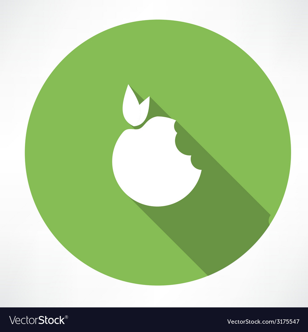 Bitten apple green icon vector | Price: 1 Credit (USD $1)