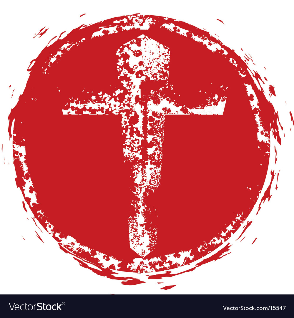 Christian cross grunge stamp vector | Price: 1 Credit (USD $1)