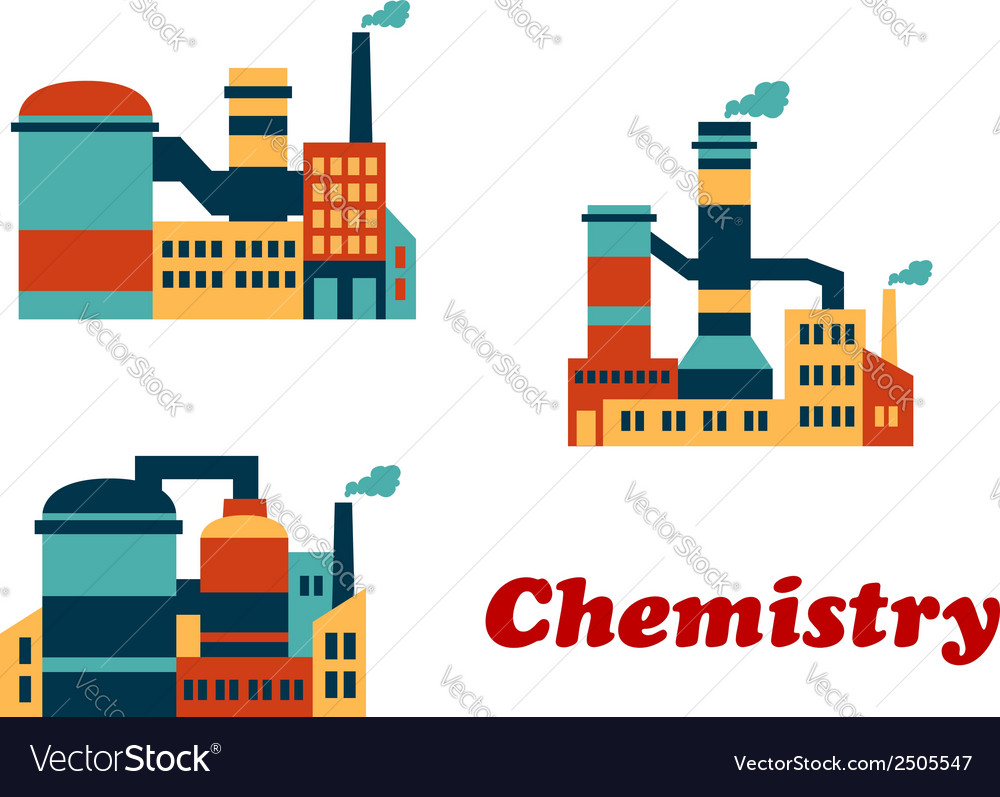 Colorful flat buildings of chemical factories or vector | Price: 1 Credit (USD $1)
