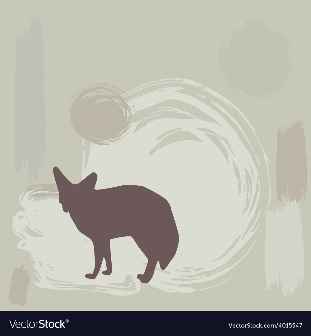 Fennec fox silhouette on grunge background vector | Price: 1 Credit (USD $1)