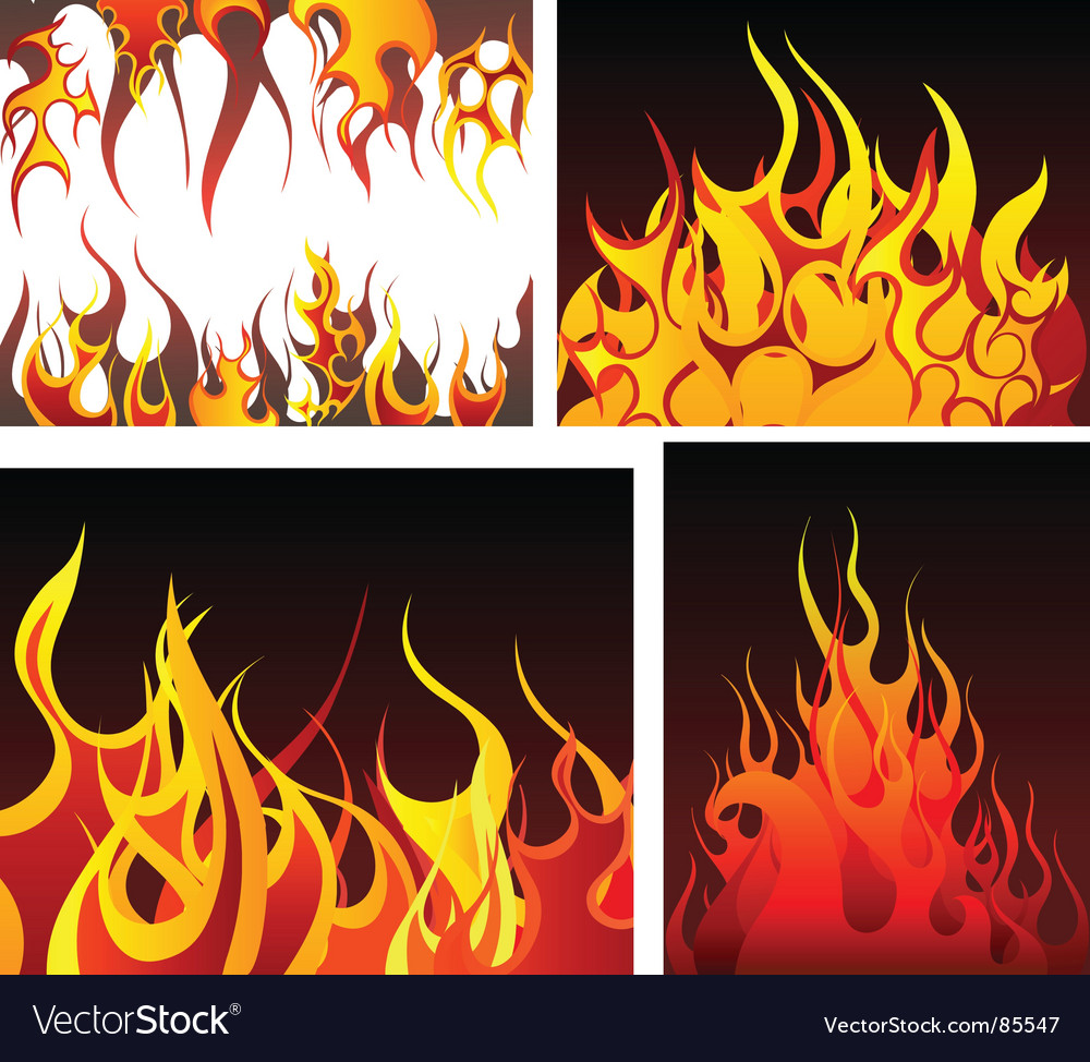Fire backgrounds set vector | Price: 1 Credit (USD $1)