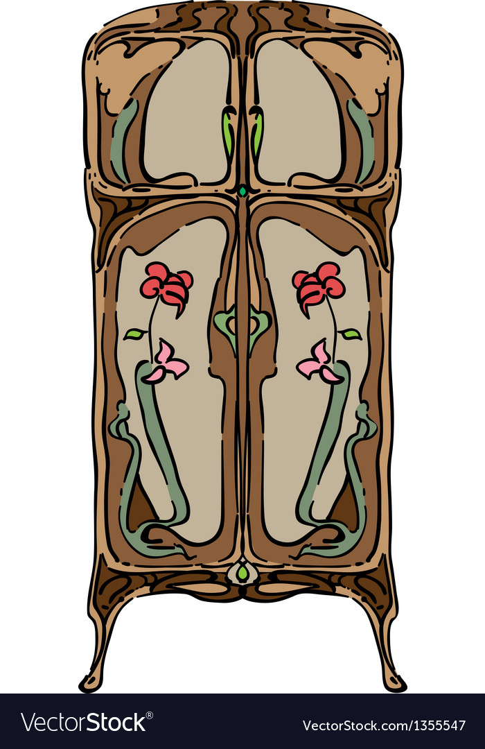Jugendstil wardrobe with flowers vector | Price: 1 Credit (USD $1)