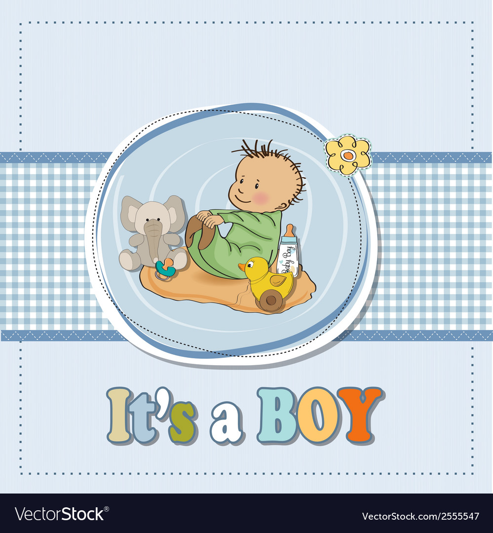 Little baby boy play with his toysbaby shower card vector | Price: 1 Credit (USD $1)