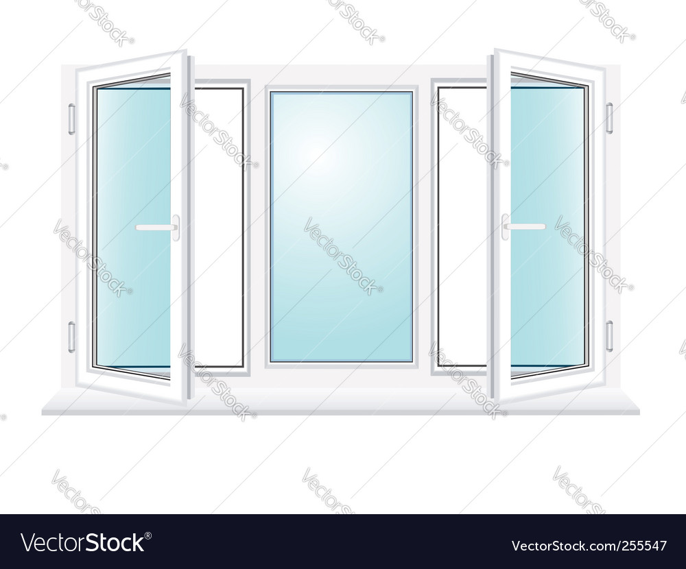 Open plastic glass window illustration vector | Price: 1 Credit (USD $1)