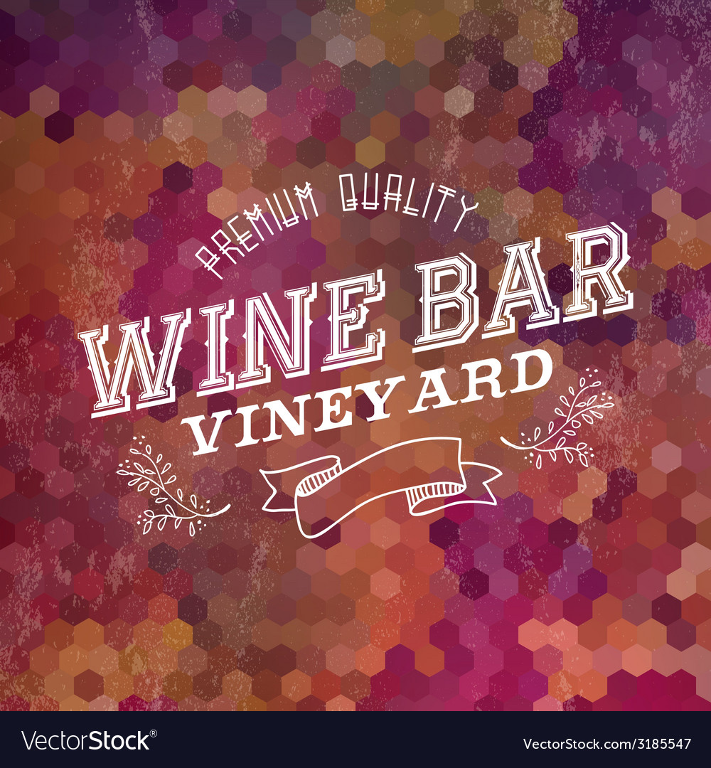 Premium wine bar vintage label background vector | Price: 1 Credit (USD $1)