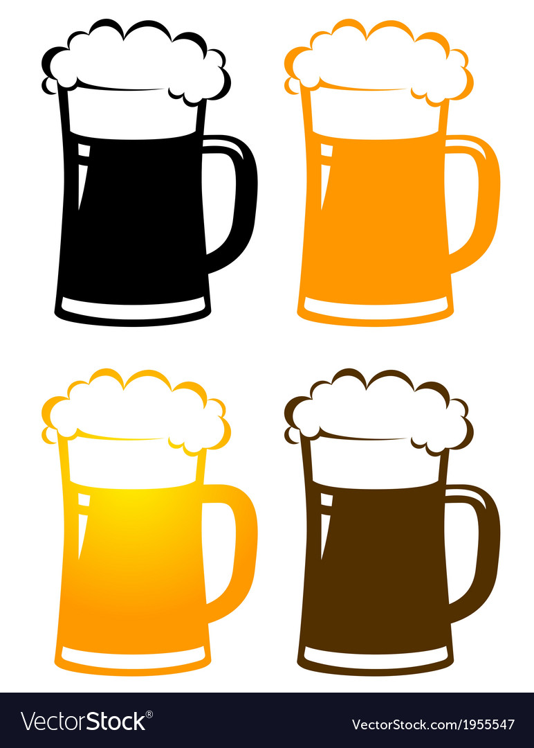 Set of colorful beer mugs with foam vector | Price: 1 Credit (USD $1)