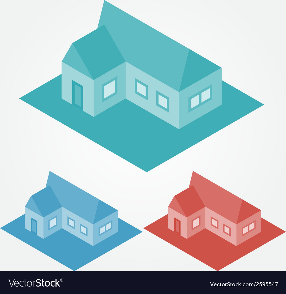 Simple isometric abstract houses vector | Price: 1 Credit (USD $1)