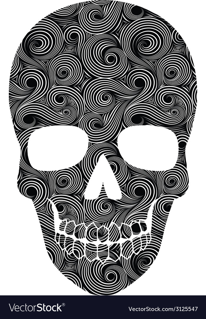 Skull line art pattern vector | Price: 1 Credit (USD $1)