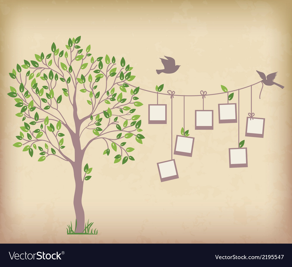 Tree and photos vector | Price: 1 Credit (USD $1)