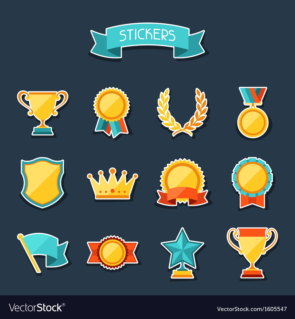 Trophy and awards stickers set vector | Price: 1 Credit (USD $1)