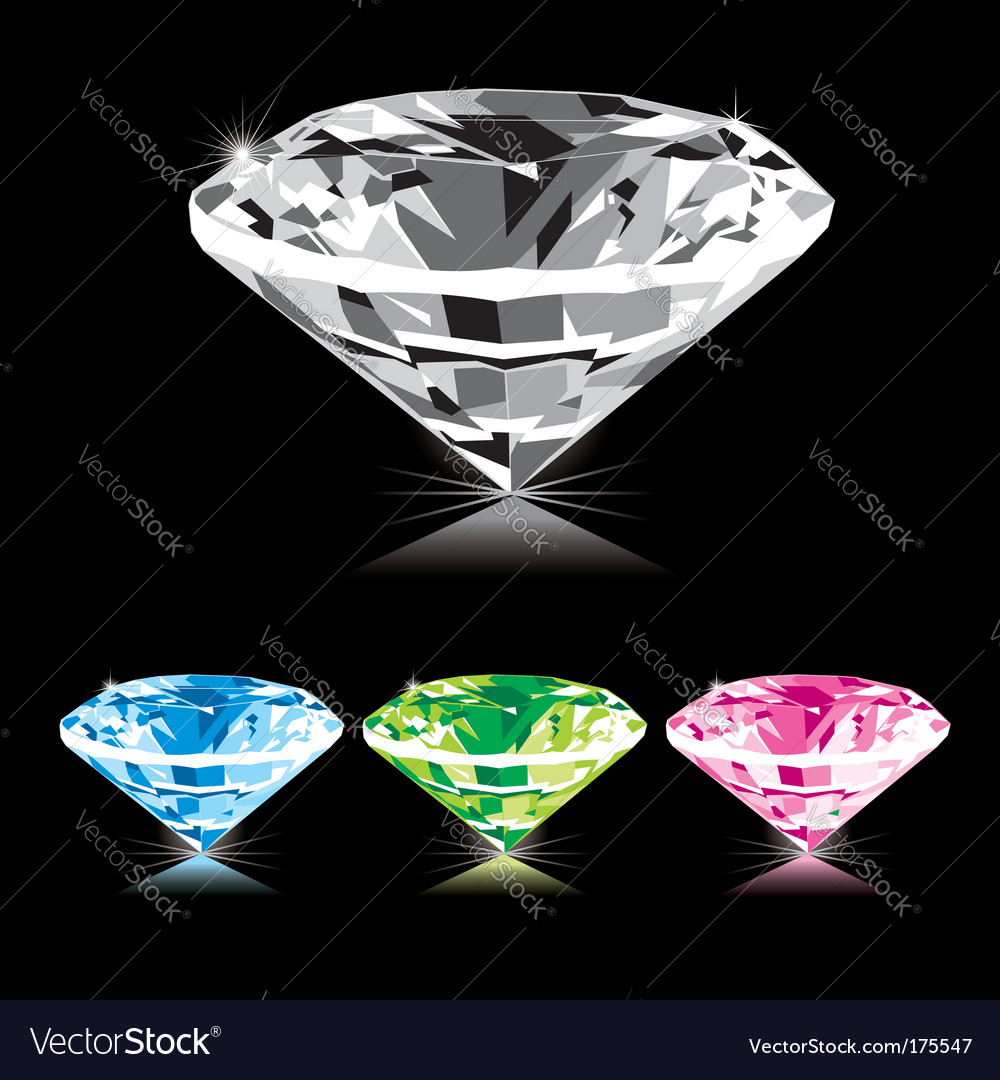 Varicolored diamond vector | Price: 1 Credit (USD $1)