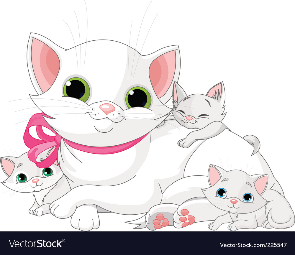 White cats family vector | Price: 1 Credit (USD $1)