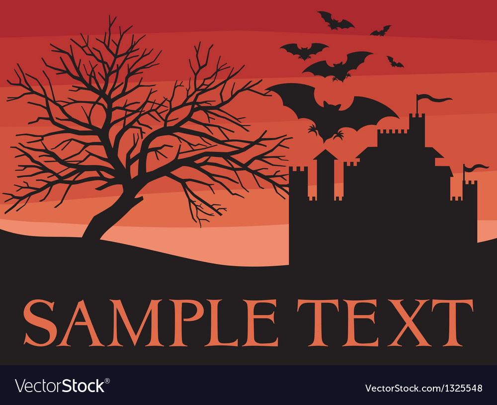 Bats flying with old castle and scary black tree vector | Price: 1 Credit (USD $1)