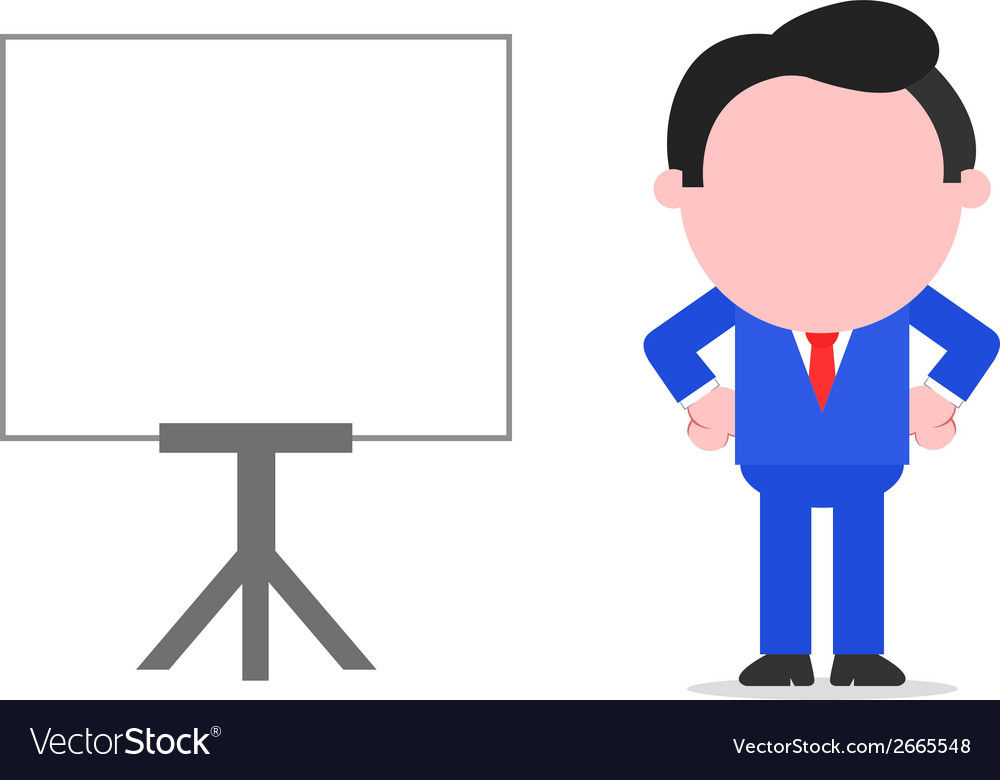 Businessman arms akimbo beside chart vector | Price: 1 Credit (USD $1)