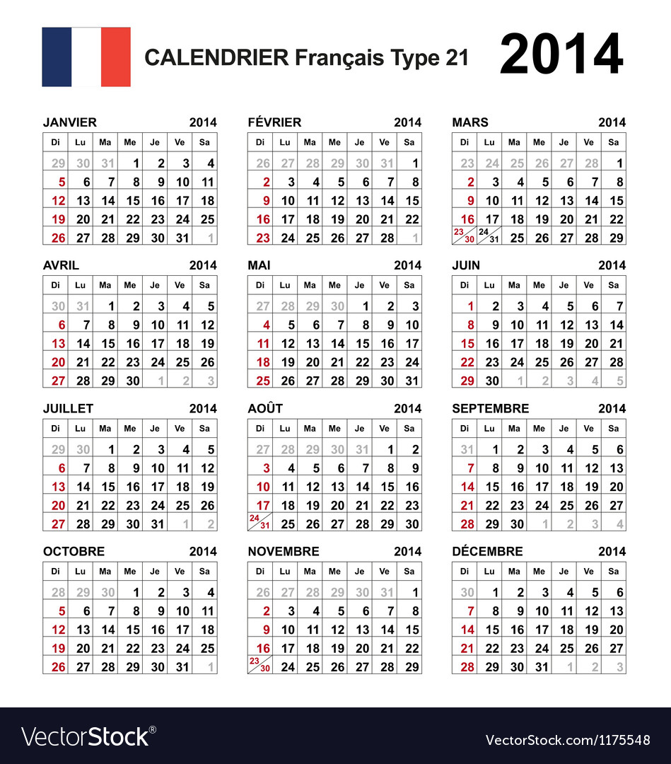 Calendar 2014 french type 21 vector   Price: 1 Credit (USD $1)