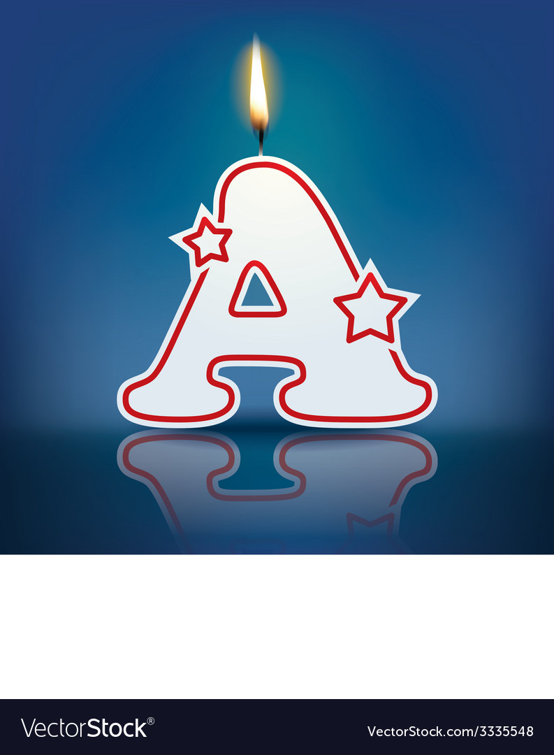 Candle letter a with flame vector | Price: 1 Credit (USD $1)