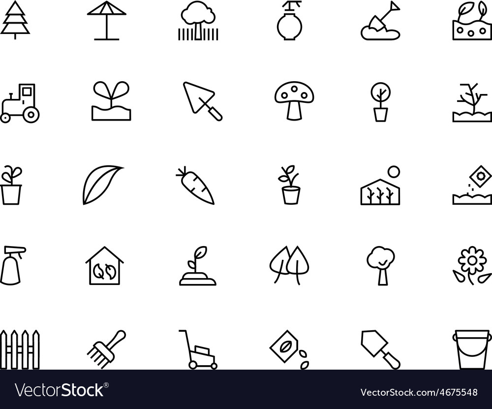 Gardening line icons 3 vector | Price: 1 Credit (USD $1)