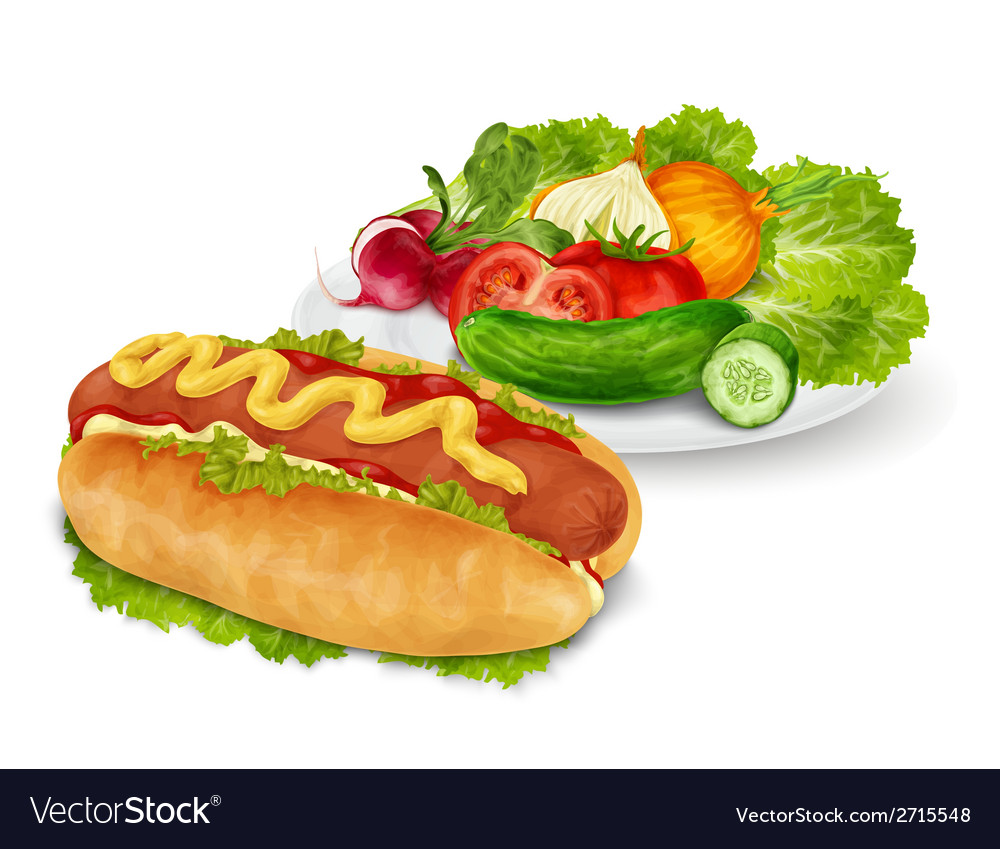 Hot dog with vegetables vector | Price: 1 Credit (USD $1)