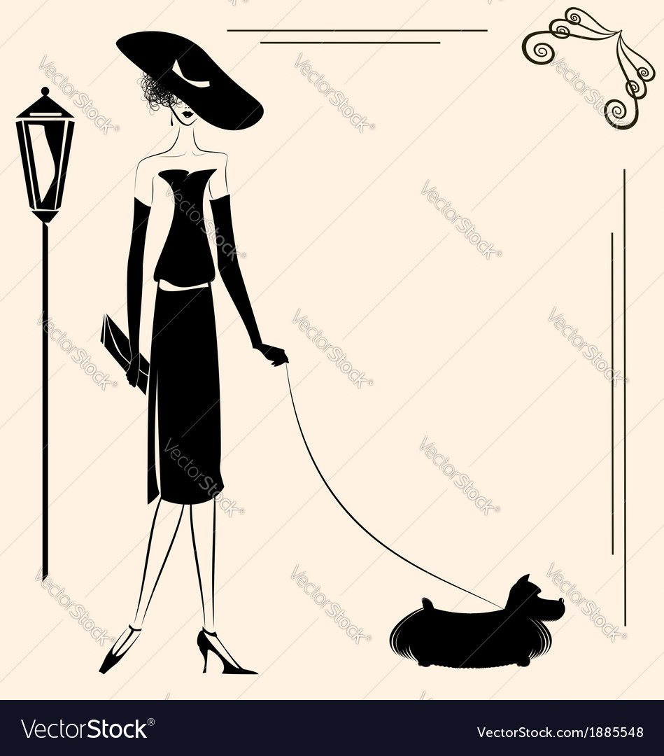Lady and dog vector | Price: 1 Credit (USD $1)