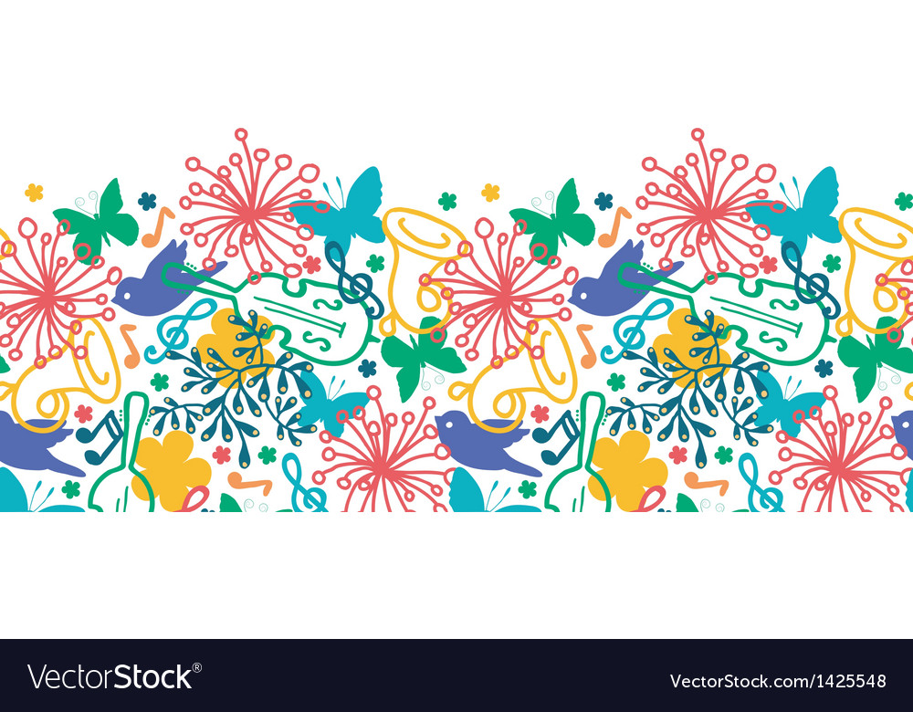 Spring music symphony horizontal seamless pattern vector | Price: 1 Credit (USD $1)